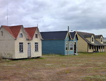 Old houses in patagonian pampa stock photo