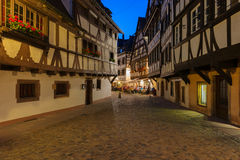 Old houses in Petite-France at night. Old houses in Petite-France area in the center of Strasbourg at night Stock Photo
