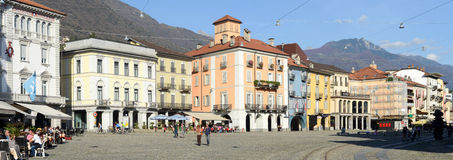 Old houses Piazza grande square at Locarno Royalty Free Stock Photo