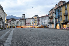 Old houses on piazza grande square at Locarno Stock Images