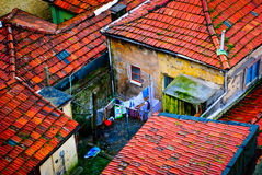 Old houses in Porto. Old houses and yard, Porto, Portugal Royalty Free Stock Photography