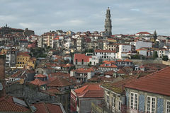 Old houses with red tiles. The most famous neighborhood in the city of Porto – Ribeira. Royalty Free Stock Photography