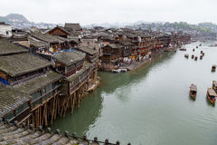Old Houses on the river in Fenghuang Ancient town, Hunan. Province, China. This ancient town was added to the UNESCO World Heritage Tentative List in the Royalty Free Stock Photos