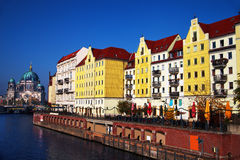 Old houses at river walk and Berliner Dom Royalty Free Stock Image