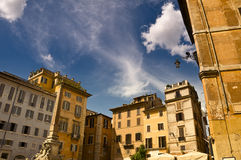 Old houses in Rome, Italy. Old houses around the Pantheon square in Rome, Italy royalty free stock photography