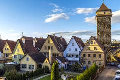Old houses in Rothenburg ob der Tauber, picturesque medieval cit Royalty Free Stock Photos