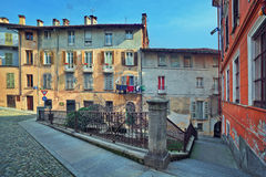 Old houses in Saluzzo, Italy. Stock Photo