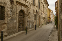Old houses in San Francesco street, Rieti Stock Photo