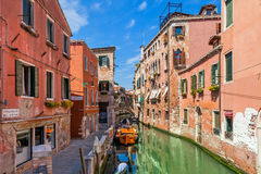 Old houses and small canal in Venice. Royalty Free Stock Photo
