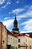 Old houses and spike of the Dome cathedral. Old city, Tallinn, Stock Photo