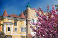 Old Houses in Springtime. Old houses in Mauthausen, a village in Upper Austria. Taken in April Stock Image