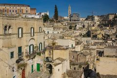 Old town. Matera. Basilicata. Apulia or Puglia. Italy. Old houses and square of the artists. Piazzetta degli Artisti. Vievewd from the belvedere in Piazza Veneto royalty free stock photography