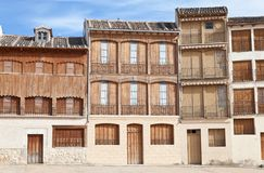 Old houses in a square in Peñafiel, Spain Stock Photo