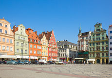 Old houses on square Solny in  Wroclaw Stock Photos
