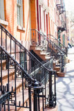 Old houses with stairs in the historic district of West Village. Old houses with stairs in historic district of West Village Stock Image