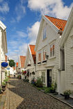 Old houses in Stavanger, Norway. Royalty Free Stock Image