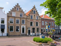 Old houses with stepped gables in Oud-Beijerland, Netherlands Royalty Free Stock Photo