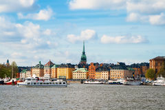 Old Houses in Stockholm. View of Embankment Royalty Free Stock Photo