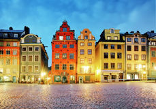 Old houses on Stortorget square at night. Stockholm, Sweden Royalty Free Stock Image