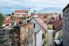 Old houses, streets and churches in Skalica town, Slovakia Royalty Free Stock Photos