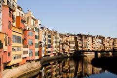 Old houses at sunset, Girona Royalty Free Stock Image