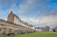Old houses on the surrounding city wall in Maastricht Stock Images
