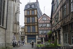 Old houses in the tourist center of Rouen, France. stock photo