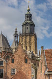 Old houses and the tower of the Walburgis church in Zutphen Royalty Free Stock Images