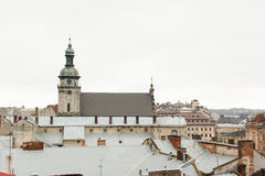 Old houses and towers of the historic city of Lvov Ukraine, view Stock Photo