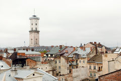 Old houses and towers of the historic city of Lvov Ukraine, view Stock Photography