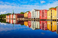 Old houses in Trondheim stock photography