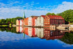 Old houses in Trondheim stock image