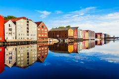 Old houses in Trondheim royalty free stock photo