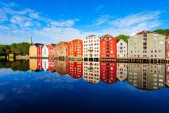 Old houses in Trondheim royalty free stock photos