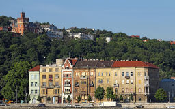 Old houses under Gellert hill Royalty Free Stock Image