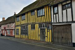 Lavenham UK.Old Houses. This unique village was created some 750 years ago by Henry III when he granted Lavenham `market status` which stimulated the most Stock Photo