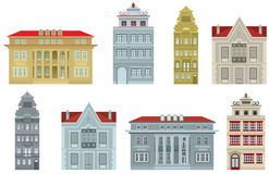 Old houses. Vector illustration of old city buildings Stock Photo