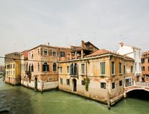Old houses in Venice. Old houses on the bank of canal in Venice stock images