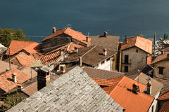 Old houses in village above lake Maggiore Royalty Free Stock Images