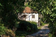 Old Houses at village of Lesnovo at Osogovo Mountain, Probistip region, Republic of Nort. LESNOVO, NORTH MACEDONIA - JULY 21, 2018: Old Houses at village of stock images