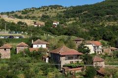 Old Houses at village of Lesnovo at Osogovo Mountain, Probistip region, Republic of Nort. LESNOVO, NORTH MACEDONIA - JULY 21, 2018: Old Houses at village of stock photography