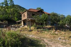 Old Houses at village of Lesnovo at Osogovo Mountain, Probistip region, Republic of Nort. LESNOVO, NORTH MACEDONIA - JULY 21, 2018: Old Houses at village of stock photos