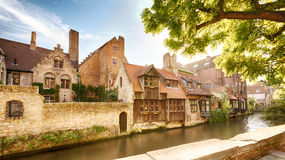 Old houses by the water in Bruges, Belgium Stock Image