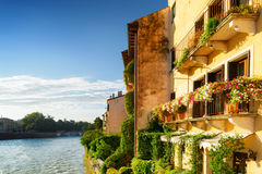 Old houses on waterfront of the Adige River in Verona, Italy Stock Image