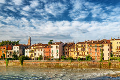 Old houses on waterfront of the Adige River, Verona, Italy Royalty Free Stock Image