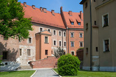 Old houses on the Wawel Hill as a part of complex of the Wawel castle. stock images