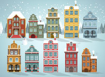 Old houses (Winter) royalty free illustration