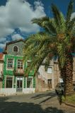 Old houses with worn facade and palm tree. Old houses with worn facade and garden with palm tree on empty alley, in a sunny day at Belmonte. A cute small town stock photo