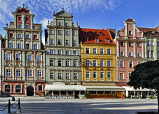 Old houses in Wroclaw. Facades of old historic tenements on Rynek (Market Square) in Wroclaw (Breslau), Poland royalty free stock photography