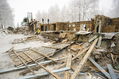 The old housing. The demolition of the wooden house. Stock Images